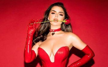 Demi Rose Turns Into A Perfect Seductress In Red Latex Bodysuit For Valentine's Day