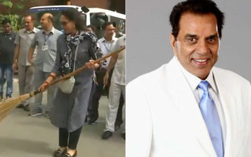 After Hema Malini Is Trolled For Picking Up A Broom, Dharmendra's 'Honest' Reaction Wins The Day And Twitter