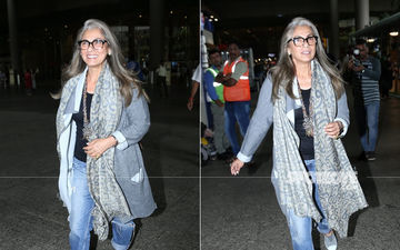 Dimple Kapadia Is All Smiles For The Photogs As She Returns From Angrezi Medium's London Schedule