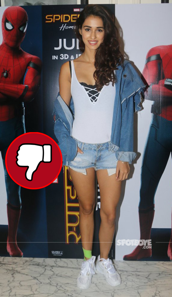 disha patani in an unflattering avatar at the spiderman screening