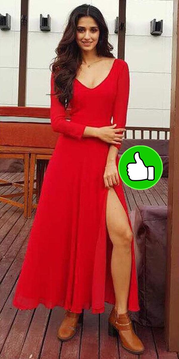 disha patanni in a red deme by gebriella