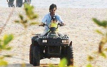 SRK-AbRam enjoy a quad bike ride in Goa