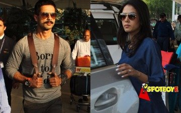Wifey Mira receives Shahid at the airport