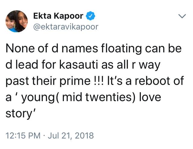 ekta kapoor tweets about kasauti