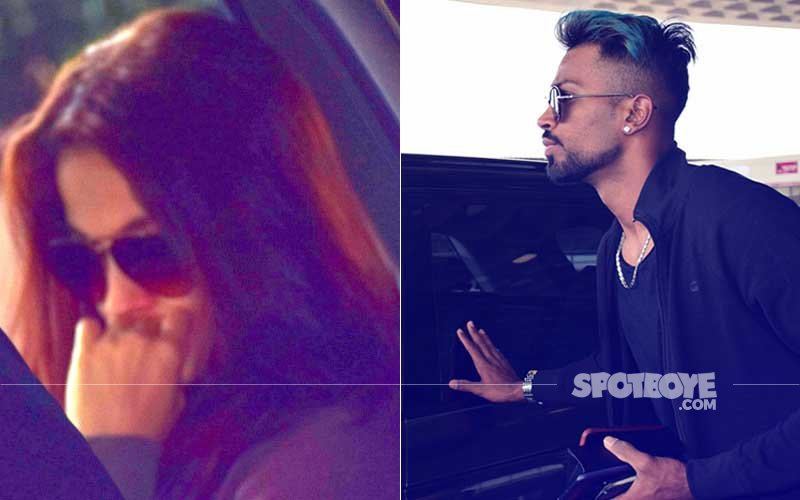 Elli AvrRam Sees Off Boyfriend Hardik Pandya At The Airport