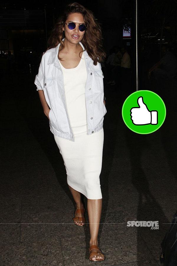 in a white bodycon dress