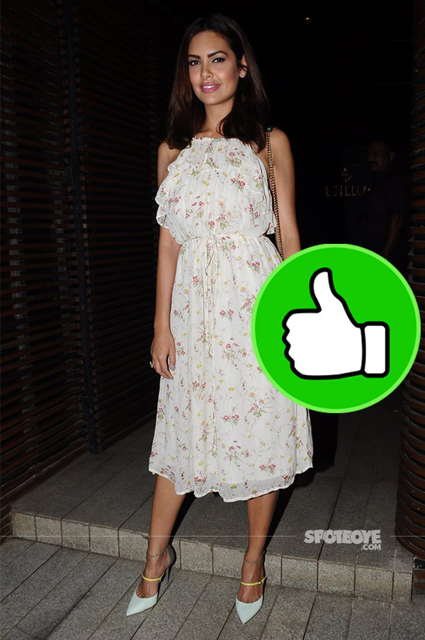 esha gupta snapped at ventilator success bash in a cute floral dress