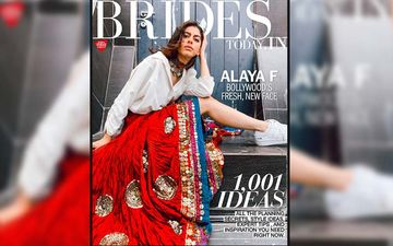 Alaya F Teams Sneakers And White Cotton Shirt With An Embellished Red Ghagra; This Covergirl Is Boho And Proud
