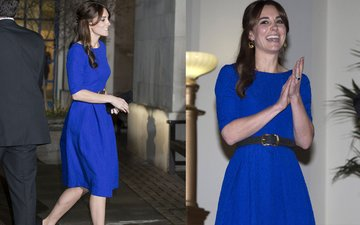 Kate wears an Indian designer while hosting students from India and Bhutan