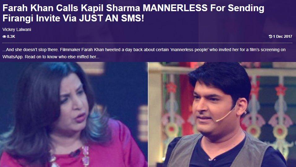 farah khan pissed with kapil sharma