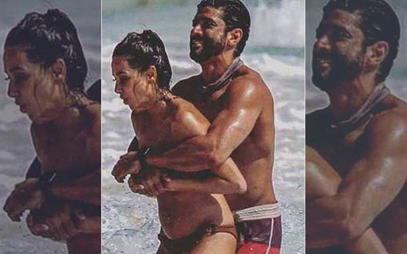 Farhan Akhtar-Shibani Dandekar's Unseen Beach Pictures: Couple Goes Wet And Wild