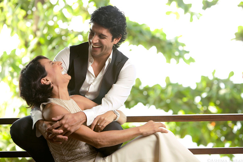 farhan akhtar with ex wife adhuna bhabhani posing for a photo shoot