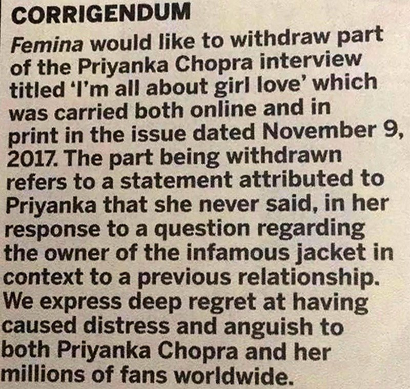 femina apology note on the priyanka chopra jacket controversy