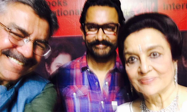 film critic khalid mohamed with aamir khan and asha parekh at the book launch of the hit girl