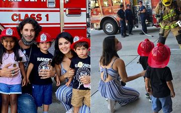 Sunny Leone- Daniel Weber's Kids Nisha, Noah And Asher Make For The Cutest Little Fire-Fighters As The Actress Takes Them For A Fire Safety Session