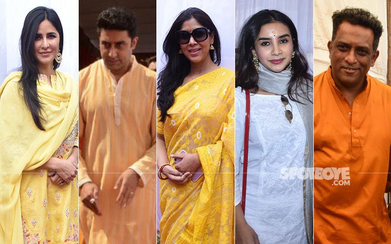 Katrina Kaif, Abhishek Bachchan, Sakshi Tanwar, Patralekhaa Seek Blessings At Anurag Basu's Saraswati Puja