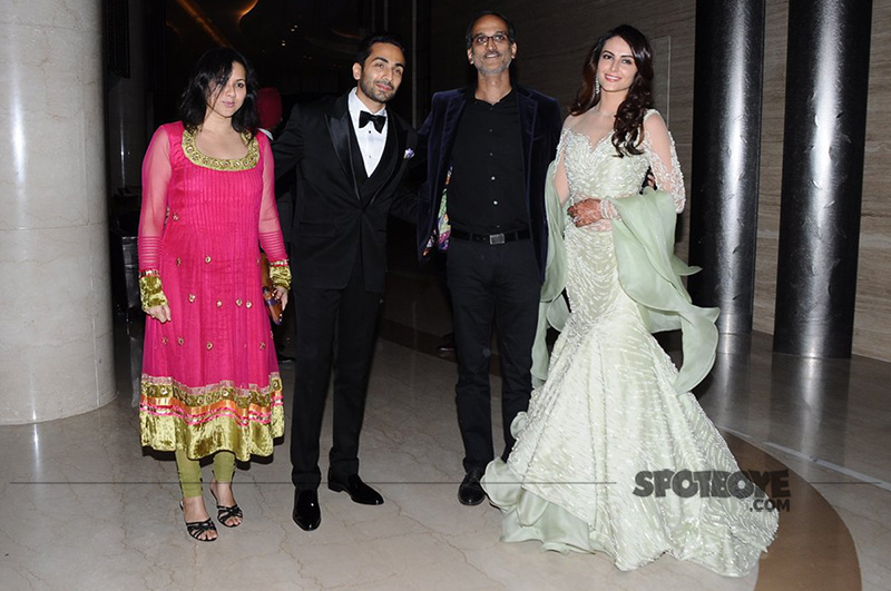 gaurav gupta and mandana karimi with guests during their wedding