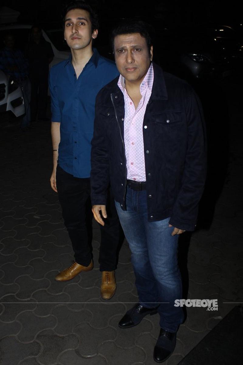 govinda arrives with son yashvardhan at tubelight screening