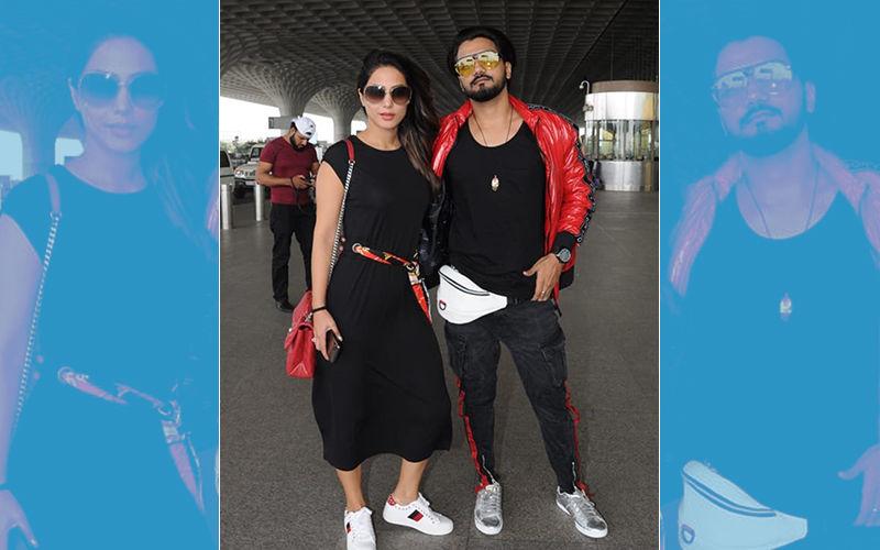 बॉयफ्रेंड रॉकी जैसवाल के साथ एअरपोर्ट पर ब्लैक अवतार में स्पॉट हुई हिना खान