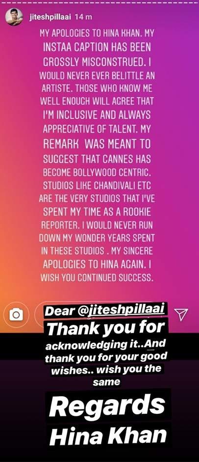hina khan insta story