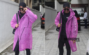 Holy Moly, Did Ranveer Singh Just Make An Appearance Wearing A Big Purple Bubble Wrap Coat?