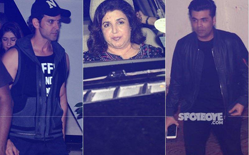 Hrithik Roshan, Karan Johar, Farah Khan Party At Farhan Akhtar's House