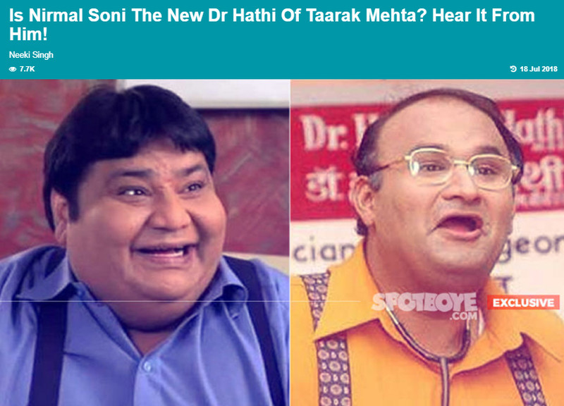 is nirmal soni the new doctor hathi