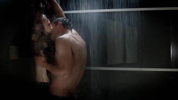 jamie dornan and dakota johnson in an intimate bathroom scene from 50 shades darker