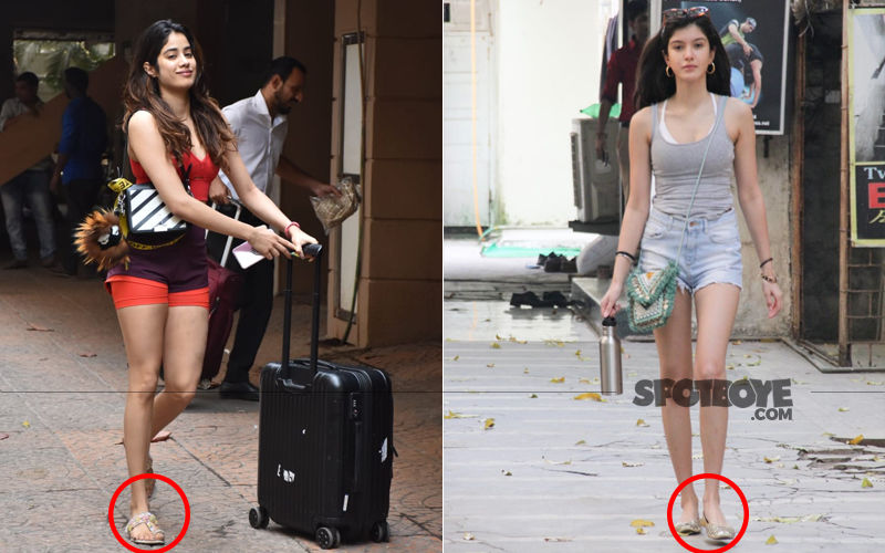 Janhvi And Shanaya Kapoor Team Embellished Mojari Slippers With Gym Wear- New Trend In Town?