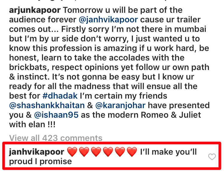 janhvi kapoor comment on arjun kapoor post