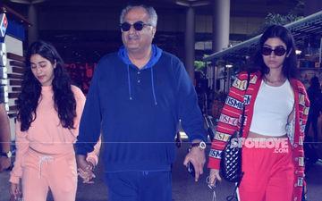 Janhvi & Khushi Kapoor Return From Their London Vacation