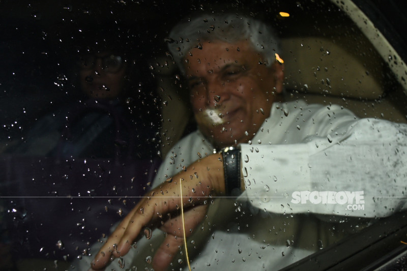 javed akhtar with wife shabana azmi snapped at sanju screening
