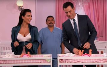 When Kim Kardashian Turned Into A Diaper Changing Beast All For A Task Thrown At Her By Jimmy Kimmel - Video