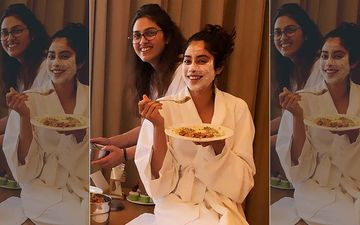 It's Food Before Anything Else For Janhvi Kapoor As She Binges On Biryani In A Bathrobe And Face Mask On