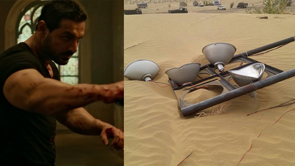 john abraham and lights on the sets of parmanu movie in jaisalmer hit by a sandstorm