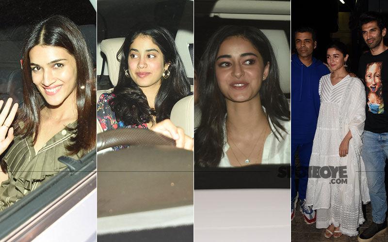 Kriti Sanon, Janhvi Kapoor, Ananya Pandey Catch A Special Screening Of Alia Bhatt-Varun Dhawan Starrer Kalank