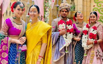 Kangana Ranaut Exudes Royalty At Brother Aksht's Wedding; Pairs Her Purple And Blue Lehenga With Heavy Necklace
