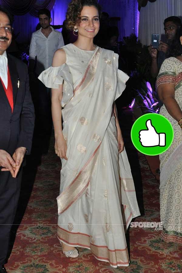 kangana ranaut snapped in a bangla saree exiting a friend wedding