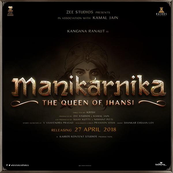 kangana ranaut on the poster of manikarika the queen of jhansi biopic