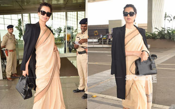 Kangana Ranaut Makes A Style Splash At The Airport As She Layers Her Saree With A Trench Coat