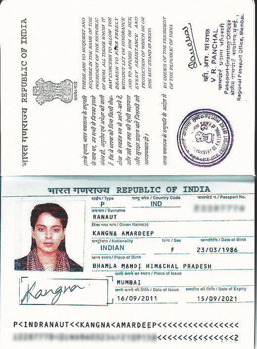 kangana ranaut passport scan