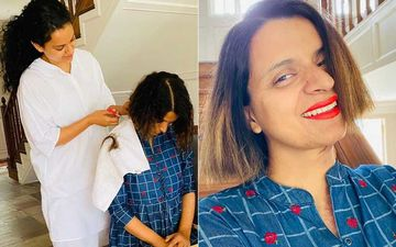 After Anushka Sharma, Kangana Ranaut Turns Hairdresser For Sister Rangoli; Says, 'My Young-Gun-Murugan Ever Ready For Anything'