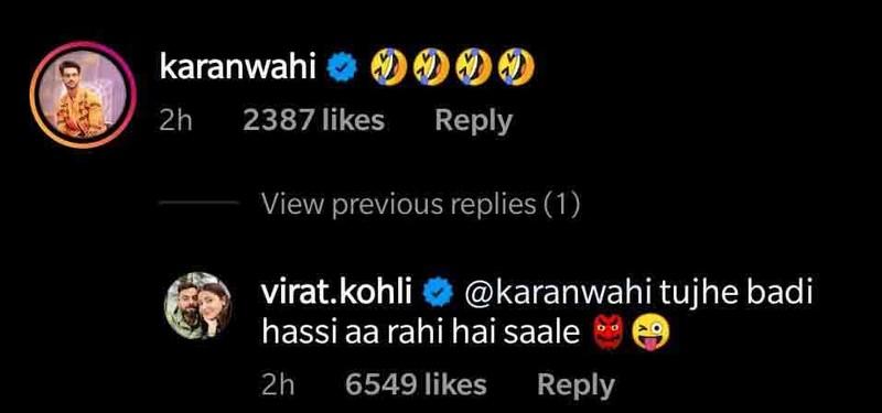 KaranWahi ViratKohliComment