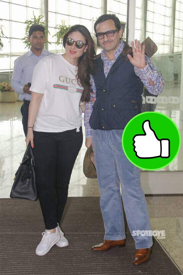 kareena kapoor khan and saif ali khan look elegant and comfortable while travelling to london