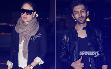 Kareena Kapoor Khan & Kartik Aaryan Spotted At Mumbai Airport