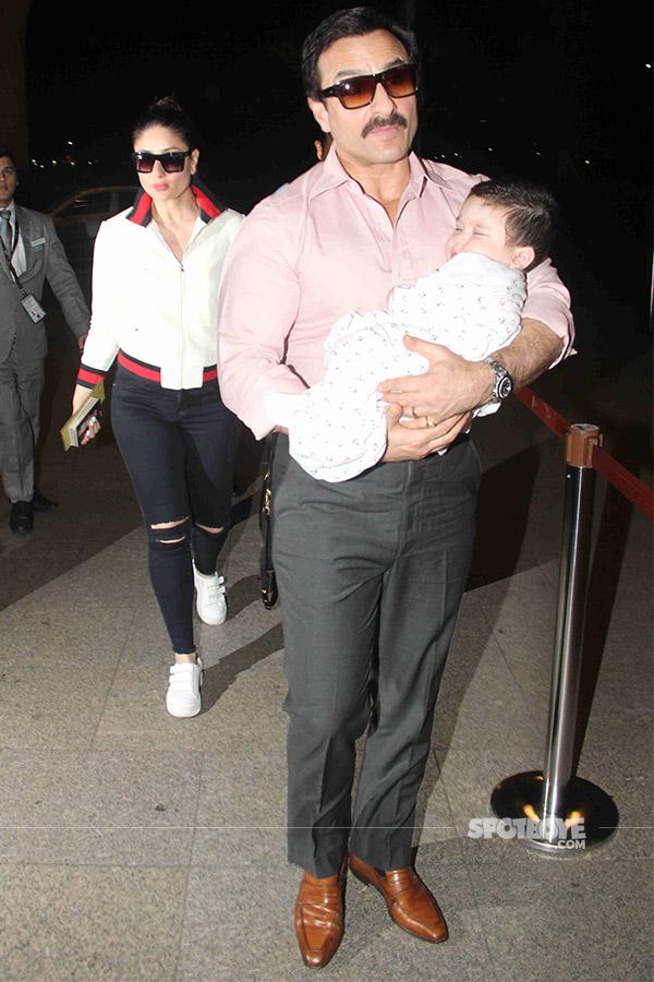 kareena kapoor follows saif and taimur at the airport