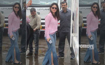 Kareena Kapoor Is A Diva In A Casual Checkered Shirt And High Waist Denims With Side Slit; View Photos
