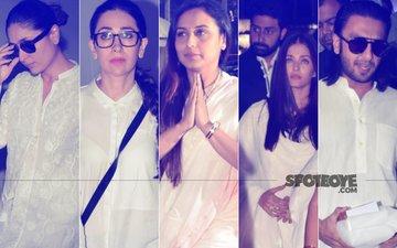 Kareena-Karisma Kapoor, Abhishek-Aishwarya Rai Bachchan, Ranveer Singh At Rani Mukerji's Father's Prayer Meet