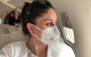 Preggers Kareena Kapoor Khan Gazes Through Her Plane Window Wearing A Mask; 'Mask Pehniye Aur Bahar Dekhiye'
