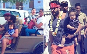 Taimur & Kareena Kapoor Join Saif As He Shoots In Rajasthan
